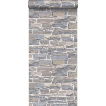 tapet murstenmur lysegråt og beige fra ESTA home
