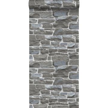 tapet murstenmur mørkegråt fra ESTA home