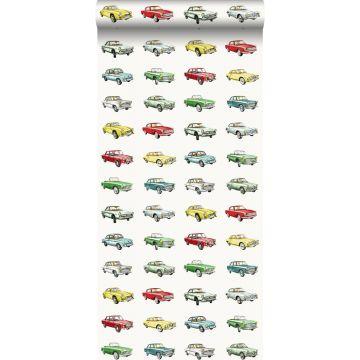 tapet vintage biler rødt, gul og grønt fra ESTA home