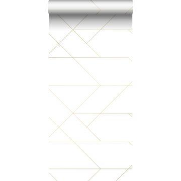 tapet grafiske linjer hvidt og guld fra ESTA home