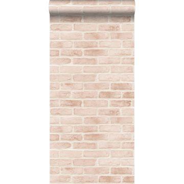 tapet murstensvæg lyst ferskenfarvet fra ESTA home