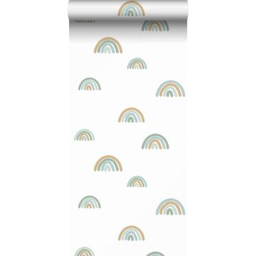 tapet regnbuer gråblåt, lyseblåt og beige fra ESTA home