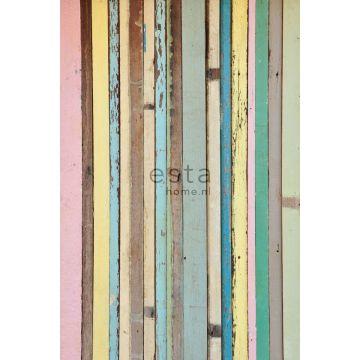 fototapet malet træ lyserosa, gul, blåt og grønt fra ESTA home