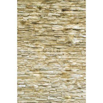 fototapet moderne murstensvæg beige fra ESTA home