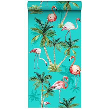 tapet XXL flamingoer turkis, grønt og lyserødt fra ESTA home