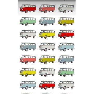tapet XXL vintage folkevognsrugbrød gul, blåt, gråt, rødt og grønt fra ESTA home