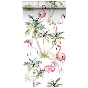 tapet XXL flamingoer lyserødt fra ESTA home