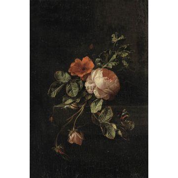 fototapet stilleben med blomster mørkerødt og sort fra ESTA home