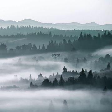 fototapet tågede bjerge grønt fra ESTA home