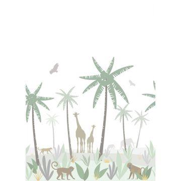fototapet jungledyr grønt, gråt og brunt fra ESTA home