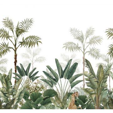fototapet jungle hvidt og gråligt olivengrønt fra ESTA home