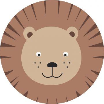 selvklæbende fototapet rundt dyrehoveder brunt og beige fra ESTA home