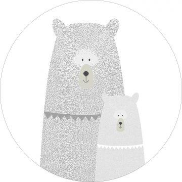selvklæbende fototapet rundt bjørne mor med unge lysegråt fra ESTA home