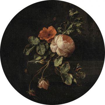 selvklæbende fototapet rundt stilleben med blomster sort og grønt fra ESTA home