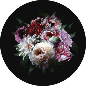 selvklæbende fototapet rundt stilleben med blomster mangefarvet på sort fra ESTA home