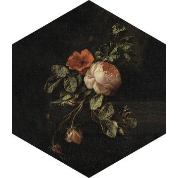 wallsticker stilleben med blomster sort, grønt og lyserødt fra ESTA home