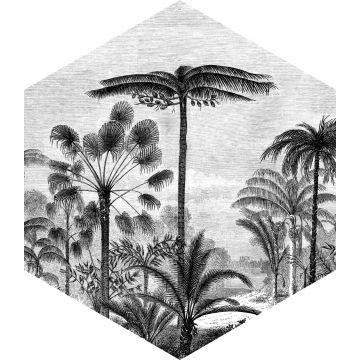 wallsticker tropisk landskab med palmetræer sort og hvidt fra ESTA home