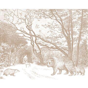 fototapet skov med skovdyr terracotta rød fra ESTA home