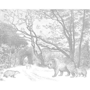 fototapet skov med skovdyr gråt fra ESTA home