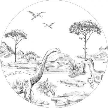 selvklæbende fototapet rundt dinosaurusser sort og hvidt fra ESTA home