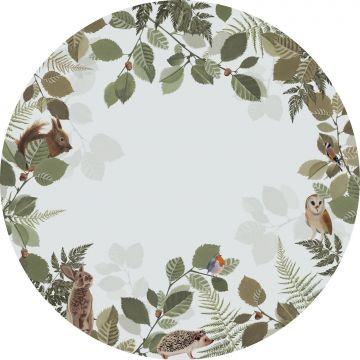 selvklæbende fototapet rundt skovdyr grønt og brunt fra ESTA home