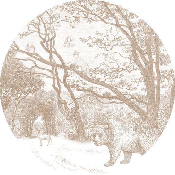 selvklæbende fototapet rundt skov med skovdyr hjortefarvet fra ESTA home