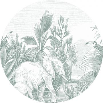 selvklæbende fototapet rundt jungle grønt fra ESTA home