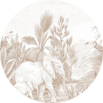 selvklæbende fototapet rundt jungle hjortefarvet fra ESTA home
