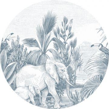selvklæbende fototapet rundt jungle blåt fra ESTA home