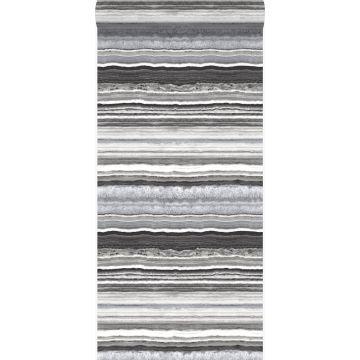 tapet lagdelt marmorsten sort og hvidt fra Origin
