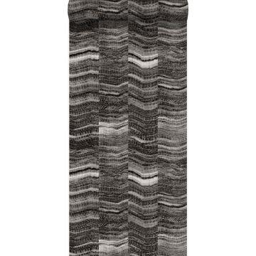 tapet zig-zag-striber af lagdelt marmor sort fra Origin