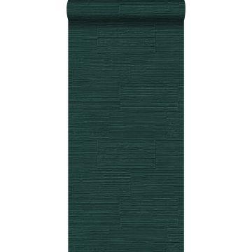 tapet grove retro naturstenblokke i halvstensforbandt smaragdgrønt fra Origin