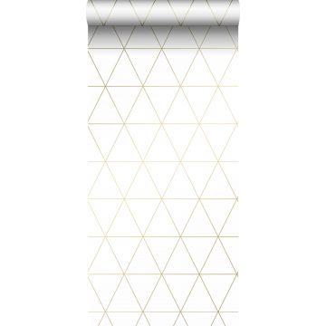tapet grafiske trekanter hvidt og guld fra Origin