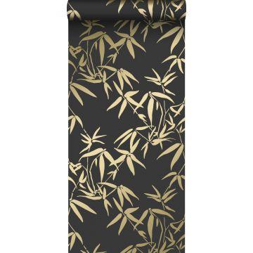 tapet bambusblade sort og guld fra Origin