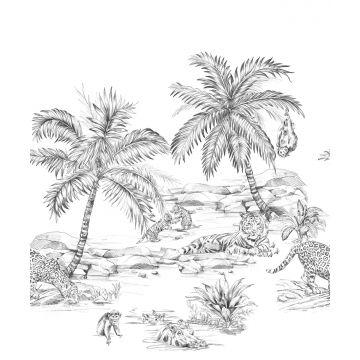 fototapet pennetegnet safari sort og hvidt fra Origin