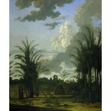 fototapet  tropisk landskab grønt, blåt og sennepsgrønt fra Origin