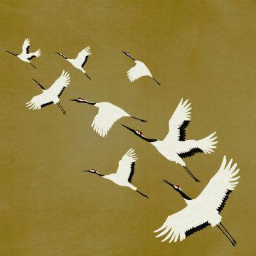 fototapet kranfugle okkergult fra Origin