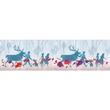 selvklæbende tapetbort Frost lyseblåt, lilla og rødt fra Sanders & Sanders